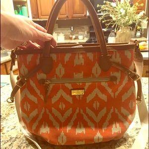 Tommy Hilfiger Orange/Cream Canvas Handbag